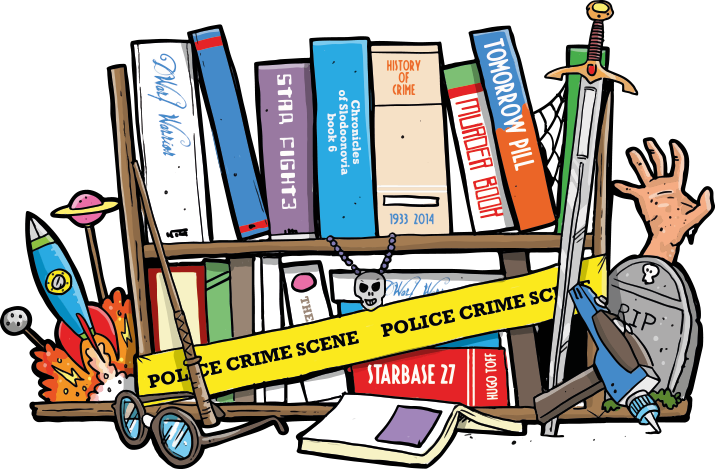 A great illustrationof the Jeff 'n' Joys Quality Books genres, Crime, Horror Science Fiction